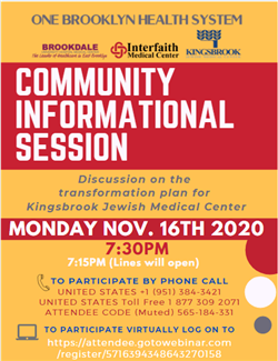 KINGSBROOK  HOSTS COMMUNITY INFORMATION SESSION NOV. 16th @ 7:30pm
